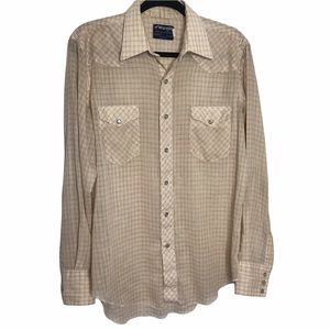 VTG Wrangler 70s Brown and White Checker Western Pearl Snap Shirt Size 16x35